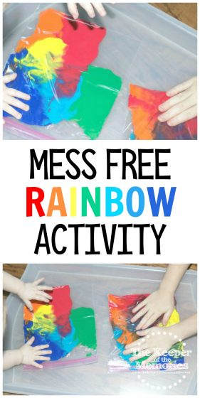 collage of rainbow sensory play images with text: Mess Free Rainbow Activity