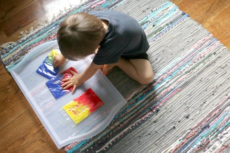 Color Mixing Rainbow Sensory Bags for Little Kids 4