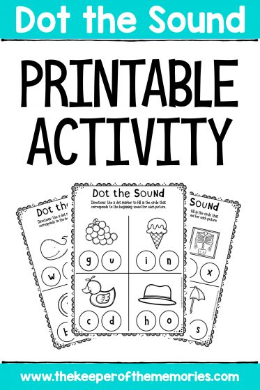 Preschool Worksheets Dot the Sound Printable Activity