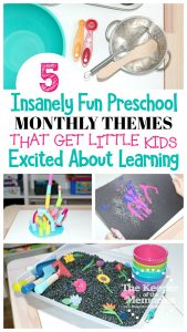 collage of preschool activities with text: 5 Insanely Fun Preschool Monthly Themes That Get Little Kids Excited About Learning
