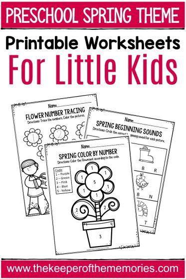 Preschool Spring Theme Printable Worksheets with text: Preschool Spring Theme Printable Worksheets for Little Kids