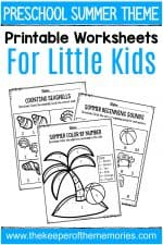 Summer Printable Preschool Worksheets