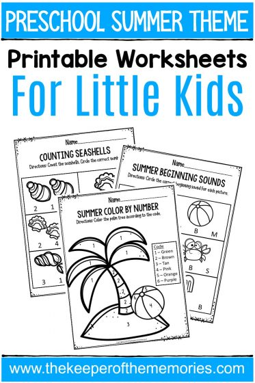 Preschool Summer Theme Printable Worksheets with text: Preschool Summer Theme Printable Worksheets for Little Kids