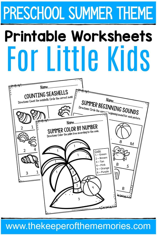 Summer Printable Preschool Worksheets