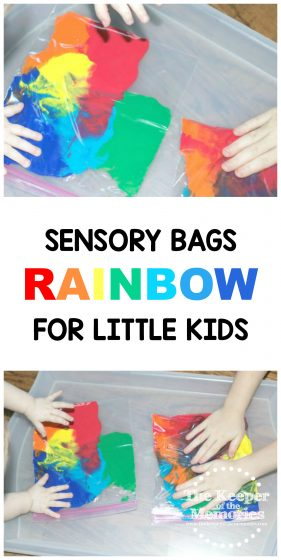 collage of rainbow sensory play images with text: Rainbow Sensory Bags for Little Kids