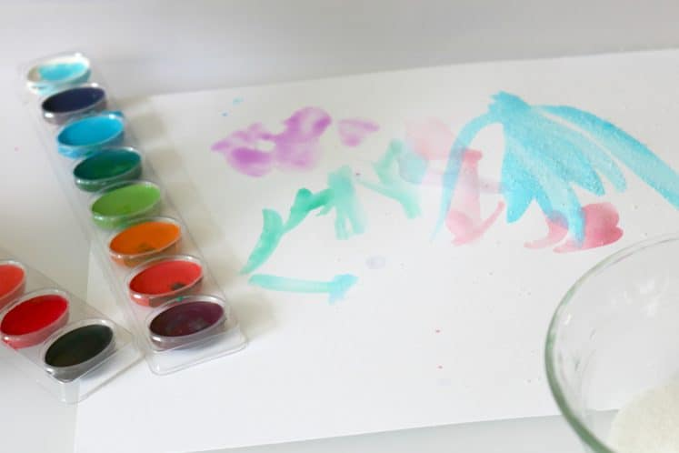 preschooler's salt painting art with watercolors