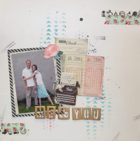 12x12 scrapbook layout featuring vintage ephemera as embellishments
