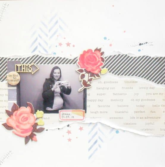 12x12 scrapbook layout featuring the use of torn paper for texture