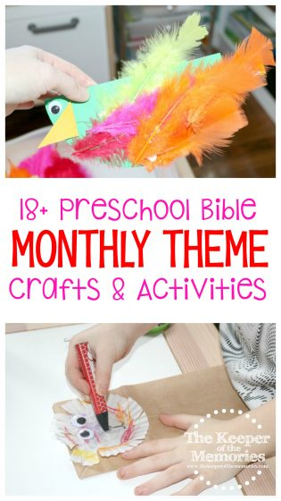 collage of bible theme activities with text: 18+ Preschool Bible Monthly Theme Crafts & Activities