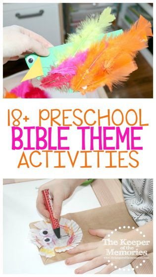 collage of bible theme activities with text: 18+ Preschool Bible Theme Activities