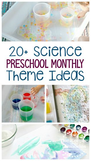 collage of science activities with text: 20+ Science Preschool Monthly Theme Ideas