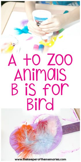 collage of bird zoo craft images with text: A to Zoo Animals B is for Bird