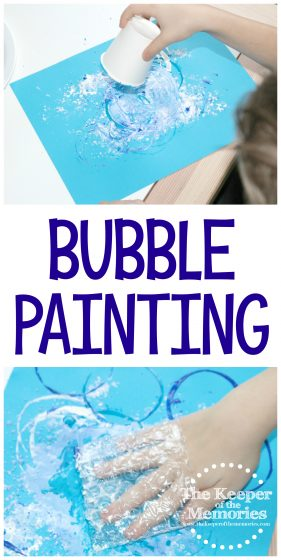 collage of bubble painting images with text: Bubble Painting