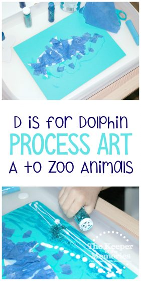 collage of dolphin process art images with text: D is for Dolphin Process Art A to Zoo Animals