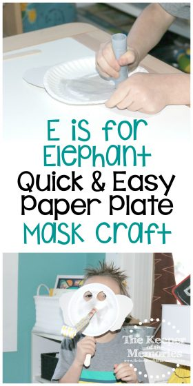 collage of elephant craft images with text: E is for Elephant Quick & Easy Paper Plate Mask Craft
