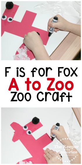 fox zoo craft images with text: F is for Fox A to Zoo Zoo Craft