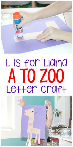 collage of llama craft images with text: L is for Llama A to Zoo Letter Craft