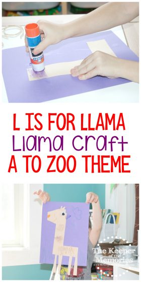 collage of llama craft images with text: L is for Llama Llama Craft A to Zoo Theme