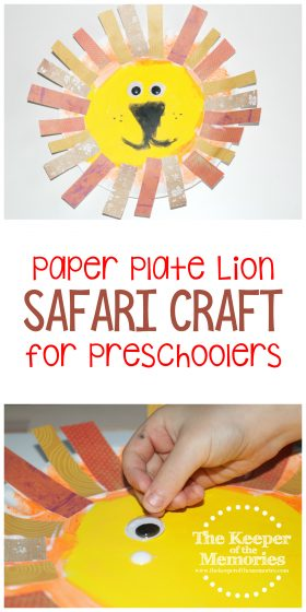 paper plate lion crafts images with text: Paper Plate Lion Safari Craft for Preschoolers