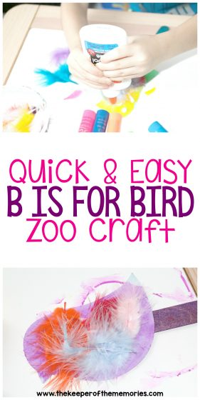 collage of bird zoo craft images with text: Quick & Easy B is for Bird Zoo Craft