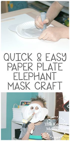 collage of elephant craft images with text: Quick & Easy Paper Plate Elephant Mask Craft