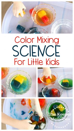 collage of color mixing activities with text: Color Mixing Science for Little Kids