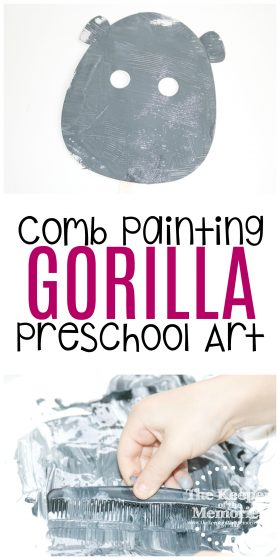 collage of gorilla craft images with text: Comb Painting Gorilla Preschool Art