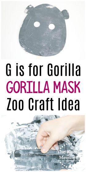 collage of gorilla craft images with text: G is for Gorilla Gorilla Mask Zoo Craft Idea
