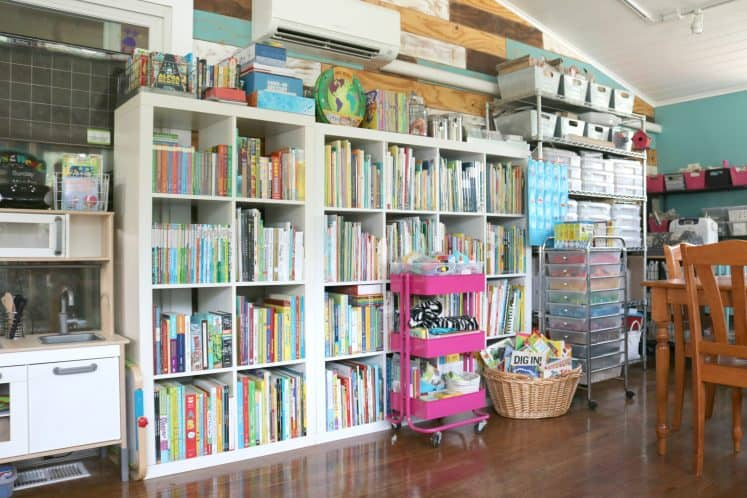 cube shelves filled with children's books