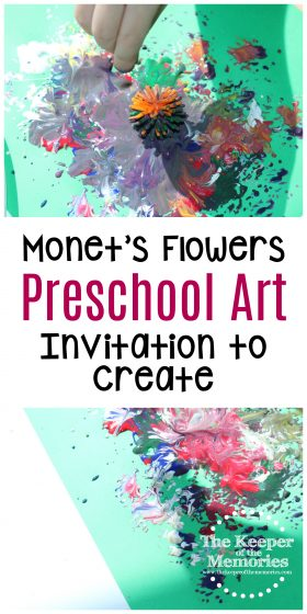 collage of flowers process art images with text: Monet's Flowers Preschool Art Invitation to Create