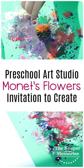 collage of flowers process art images with text: Preschool Art Studio Monet's Flowers Invitation to Create