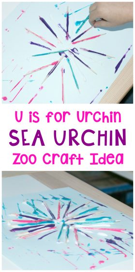 collage of sea urchin craft images with text: U is for Urchin Sea Urchin Zoo Craft Idea