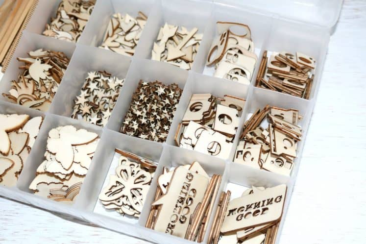 wood veneers organized in embroidery floss box