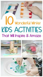 collage of winter activities with text: 10 Wonderful Winter Kids Activities That Will Inspire & Amaze