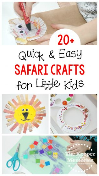 collage of preschool safari crafts with text: 20+ Quick & Easy Safari Crafts for Preschoolers