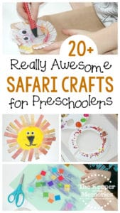 collage of preschool safari crafts with text: 20+ Really Awesome Safari Crafts for Preschoolers