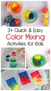 collage of color mixing activities with text: 3+ Quick & Easy Color Mixing Activities for Kids