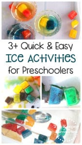 collage of ice activities with text: 3+ Quick & Easy Ice Activities for Preschoolers