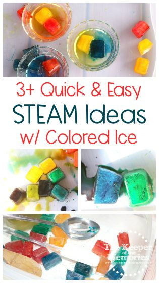 collage of ice activities with text: 3+ Quick & Easy STEAM Ideas with Colored Ice