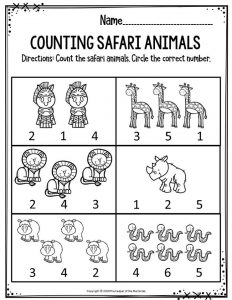 Preschool Worksheet Counting Safari Animals