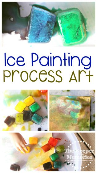 collage of ice painting images with text: Ice Painting Process Art
