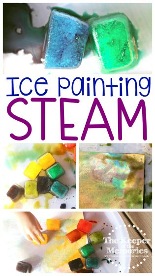 collage of ice painting images with text: Ice Painting STEAM