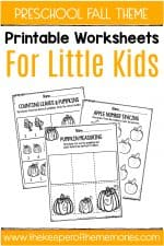 Fall Printable Preschool Worksheets