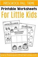 Fall Printable Preschool Worksheets