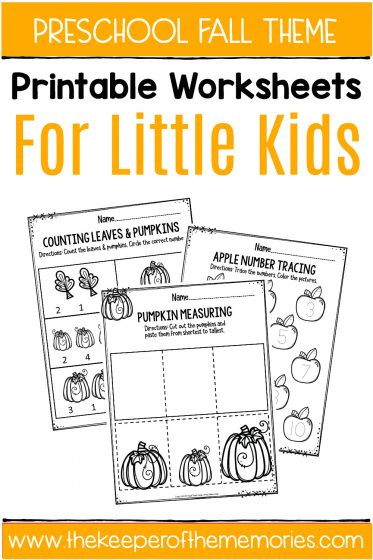 Preschool Fall Theme Printable Worksheets with text: Preschool Fall Theme Printable Worksheets for Little Kids