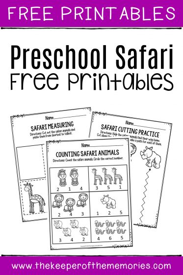 Preschool Worksheets Safari Free Printables with text: Free Printables Preschool Safari Free Printables