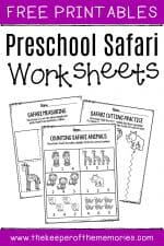 Free Printable Safari Theme Preschool Worksheets