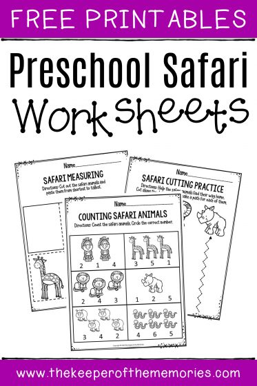 Preschool Worksheets Safari Free Printables with text: Free Printables Preschool Safari Worksheets