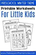 Winter Printable Preschool Worksheets