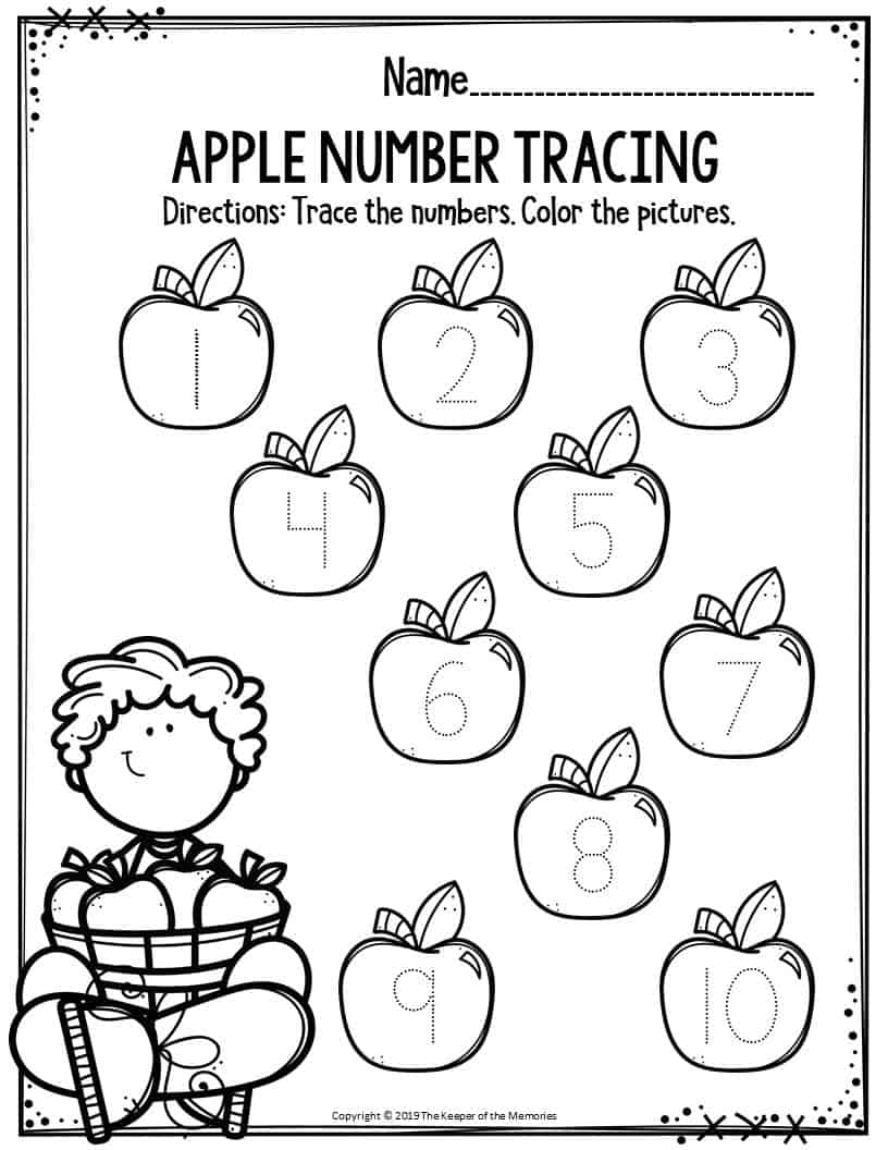 Preschool Worksheets Apple Number Tracing - The Keeper of ...